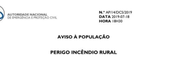 Aviso à População – Perigo de Incêndio Rural